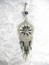 NEW BLACK BEADED SPIRAL DREAMCATCHER WITH TASSLES ON BLACK CZ BELLY BUTTON RING