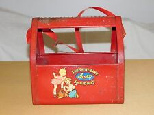 VINTAGE TOY AMSCO RED SHU SHINE BANK FOR KIDDIES METAL BOX