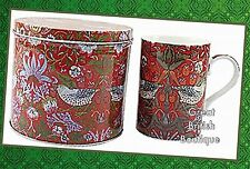 "NEW! WILLIAM MORRIS DESIGN FINE CHINA MUG IN MATCHING TIN - ""STRAWBERRY THIEF"""
