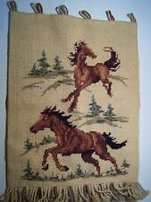 """Vintage Knitted """"Wild Horses"""" Decorative Yarn Wall Tapestry"""