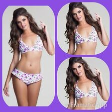 NEW $ BETSEY JOHNSON Rockin rose  retro 1.PC BIKINI SWIMSUIT L top only
