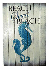 COASTAL WALL ART - SEAHORSE BEACH - NAUTICAL WOODEN SLAT SIGN