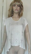 Miss London Designer Long Curved White Top with Faux Gemstones Cross FREE Ship