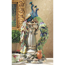Vibrant Plumage Regal Peacocks Perched on Tapered Urn Home Gallery Statue