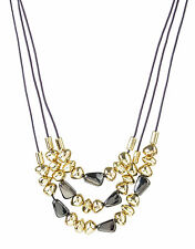 ROBERT LEE MORRIS Soho Gold-Tone Hematite Bead Three-Row Leather Necklace