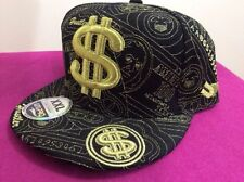 UNIPRO ULTIMATE HEADWEAR  $ cap, money sign, Hustler,BlackGold-size 8,XXL, bling