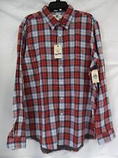 Club Room Size XXL Fitted Red Blue Plaid Long Sleeve New Mens Shirt