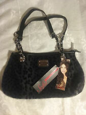 Sofia Vergara Faux Fur Leopard print purse- leather chain link handle new tags