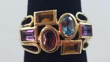 Art Deco 14k Yellow Gold Ring Citrine Amethyst Topaz Garnet Oval Baguette Sz 6.5