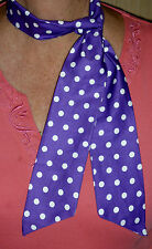ROCKABILLY /ROCK N ROLL NECK SCARF HEADBAND HAIR TIE PURPLE & WHITE SPOTS COTTON