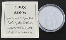 1998 SAMOA SILVER PROOF 10 DOLLARS COIN + COA / LADY OF THE CENTURY