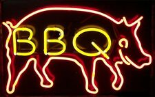 "BBQ MEAT FOOD REAL Glass Neon Light Sign Display Pub Club Restaurant 17""x14"""