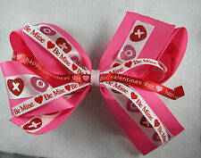 Double Layer Happy Valentine Pink Red Boutique Bow Girl's Valentine Bow