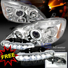 2003-2008 Corolla Halo Projector Headlights Chrome+LED Bumper Fog Lamps