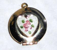#1492C Vintage Heart Locket Pendant Guilloche Enamel Cabochon Flowers NOS
