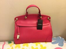 NWT Furla Piper Petite Gloss Fuchsia Pink Saffiano Leather Bag MSPR $398