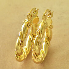Fashion Yellow Gold Filled Embossed Womens vintage Hoop Earrings