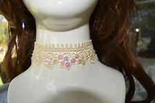 Champagne LACE Choker/necklace.Vintage--Emo.Wedding Party,Fancy dress.SEXY. N100