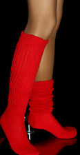 3 Red Slouch Knee Socks Heavy Scrunchie Large Women Hooters uniform warm school