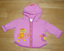 HANNA ANDERSSON PINK MONKEY QUILTED HOODED BEST EVER JACKET GIRLS SIZE 60 SPRING