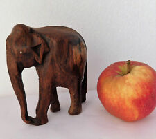 "Small wooden elephant ornament wild animal vintage figurine carved wood 4"" tall"