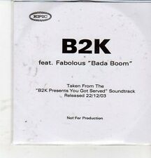 (CZ128) B2K ft Fabolous, Bada Boom - 2003 DJ CD