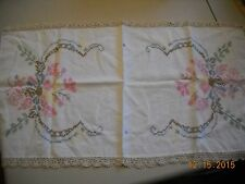Vintage Floral Needle Point Table Runner with Crocheted Trim
