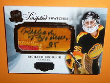 13-14 THE CUP Richard BRODEUR Scripted Swatches Auto Patch 35/35 His Jersey# 1/1