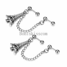 Silver Tone Stainless Steel Eiffel Tower Double Cartilage Chain Earrings 2Pcs