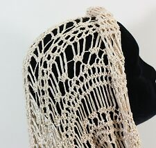 MEO CROCHETED CHAMPAGNE GOLD VISCOSE COWL INFINITY SCARF WRAP SHAWL KNIT