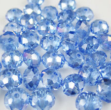 30pcs Faceted  Rondelle glass crystal #5040 6x8mm Beads Light blue AB color TA1