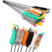 Fun Kitten Hand Toy Cat Feather Bell Wand Teaser Rod Interactive Pet Dog Toy