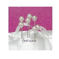 20 Perlennadeln Perlen Rosennadeln Hochzeit silber - weiß Nadeln 10mm