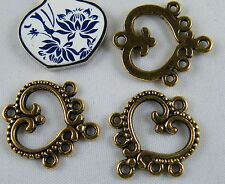 30 Tibetan Silver/Gold Color 5-to-1 Earring Connectors 19x21.5mm 118