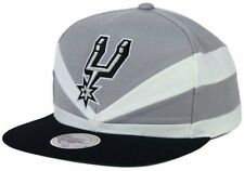 San Antonio Spurs Mitchell & Ness Slash Cut Sew Grey Black Snapback Cap Hat