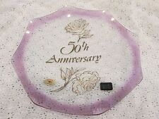 50th wedding anniversary decorative glass plate