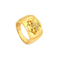 New Gold Filled Ring Jerusalem cross with Zircon stones from the holy land