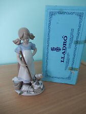 LLADRO 5232 'Playful Kittens' Girl with Kittens Bucket & Mop Mint Boxed Retired