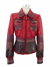 Roberto Cavalli Damen Leder Jacke IT 44 DE 38 Women Leather Jacket