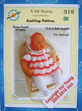 DOLLS KNITTING PATTERN 315 by VAL YOUNG for 1st Baby Annabell13-14Inch doll