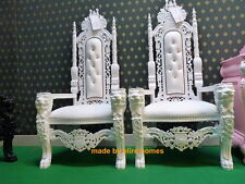 BESPOKE Large 178cm King Lion Throne wedding Chair ALL WHITE with faux leather