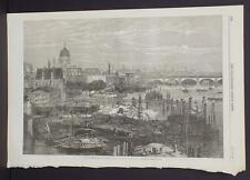 Illustrated London News Single-Page A3#2 Aug. 1864 The Thames Embankment Works
