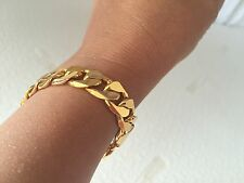 "Lifetime 12mm 7"" 18K Yellow Gold Plated Curb Chain Bracelet Men's Women's Gift"