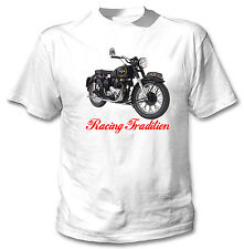 AJS SPRING TWIN 1952 INSPIRED - NEW WHITE COTTON TSHIRT ALL SIZES IN STOCK