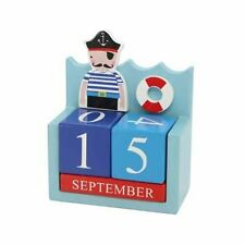 GISELA GRAHAM Pirates wooden calendar new baby nursery gift baby shower
