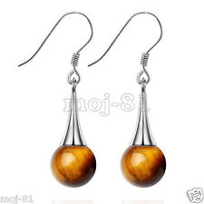 New Pair Natural Yellow Tiger Eye Stone 925 Sterling Silver Hook Dangle Earrings