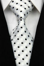 PRICED TO CLEAR!! Mens Classic Square Check Silk Necktie Tie Black White