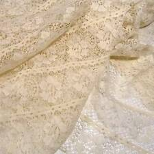 """Vintage Lace, Ivory Floral in """"Stripes"""", Polyester, BTHY 38"""" W"""