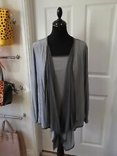 Size 16 Grey Cardigan & Vest Top Set by Per Una Drape Style Cardi with Cami Vest