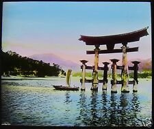 COLOUR Glass Magic Lantern Slide TORII AT MIYAJIMA C1910 JAPAN PHOTO